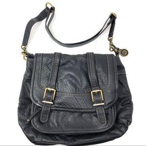The Sak Black Leather Messenger Bag